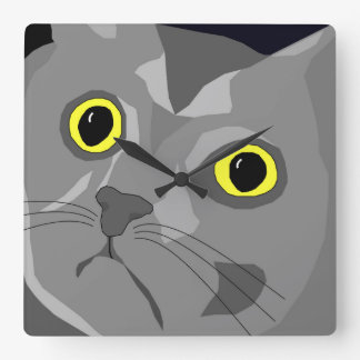 ジョージ猫のポップアートの正方形の柱時計 スクエア壁時計