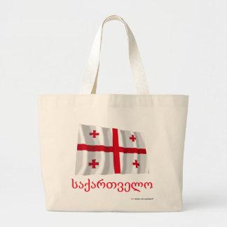 ジョージ王朝の名前のジョージアの振る旗 ラージトートバッグ