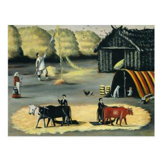 ジョージ王朝の国の床の脱穀 ポストカード