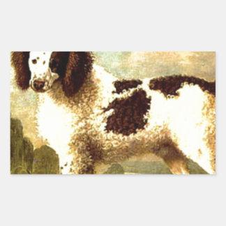 ジョージ著ブラウンそしてノーフォークまたは水白いスパニエル犬 長方形シール