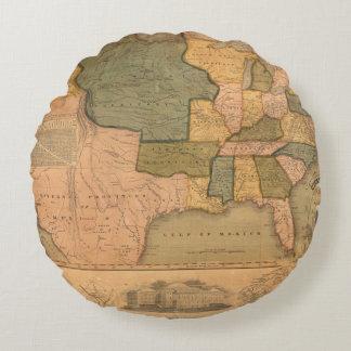 ジョージ・ワシントンが付いている米国の地図 ラウンドクッション