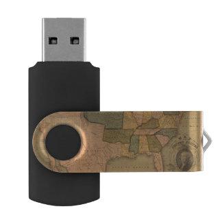 ジョージ・ワシントンが付いている米国の地図 USBフラッシュドライブ