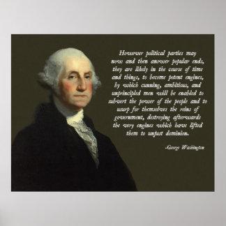 ジョージ・ワシントンの政党の引用文 ポスター