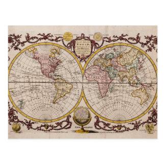 ジョージAugustus Baldwyn著世界の1782地図 ポストカード