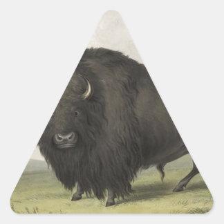 ジョージCatlin著牧草を食べているバッファローBull 三角形シール
