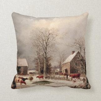 ジョージDurrie著冬の絵画の農場構内 クッション