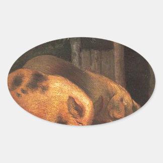 ジョージMorland著たらいのブタ 楕円形シール