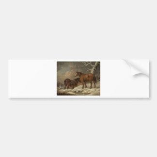 ジョージMorland著雪の2頭の馬 バンパーステッカー