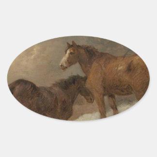 ジョージMorland著雪の2頭の馬 楕円形シール