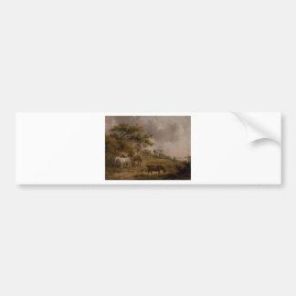 ジョージMorland著4頭の馬との景色 バンパーステッカー