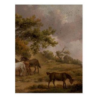 ジョージMorland著4頭の馬との景色 ポストカード