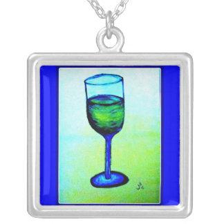 ジル著青いガラスのシャードネーワイン シルバープレートネックレス