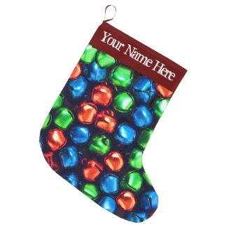 ジングルのずっと赤、緑及び青の大きいStockin ラージクリスマスストッキング