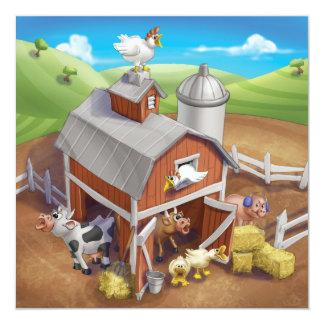 ジングルのジングル少し格言の騒々しい農場の招待状 カード