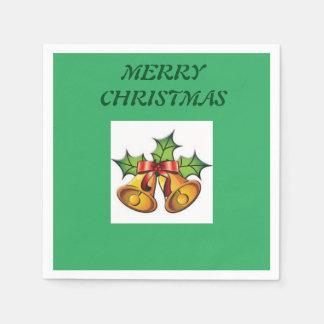 ジングルベルの緑のクリスマスのナプキン スタンダードカクテルナプキン