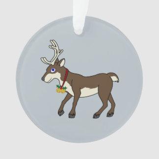 ジングルベル及びクリスマスのヒイラギを持つブラウンのトナカイ オーナメント