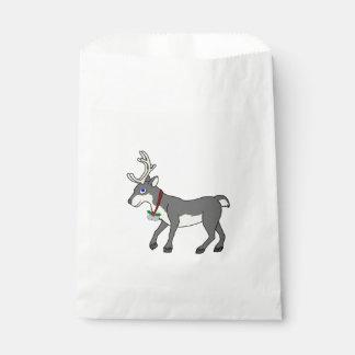 ジングルベル及びクリスマスのヒイラギを持つ灰色のトナカイ フェイバーバッグ