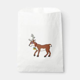 ジングルベル及びクリスマスのヒイラギを持つ赤いトナカイ フェイバーバッグ