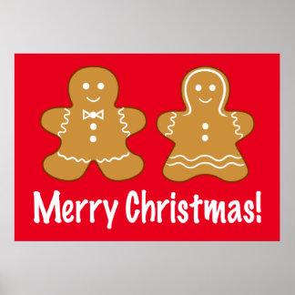 ジンジャーブレッドのカップルのメリークリスマス! ポスター
