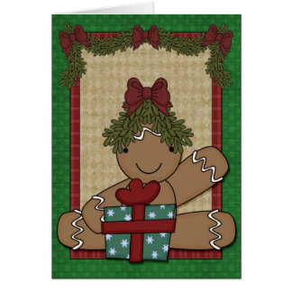 ジンジャーブレッドのクッキー-女の子 カード