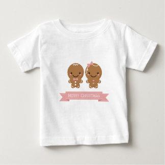 ジンジャーブレッドのクリスマスのカップル ベビーTシャツ