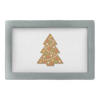 ジンジャーブレッドのクリスマスツリー 長方形ベルトバックル