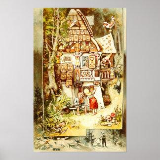 ジンジャーブレッドのコテージのHanselそしてGretel ポスター