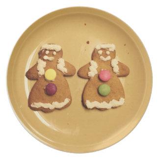 ジンジャーブレッドのレズビアンのクッキーのプレート プレート