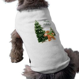 ジンジャーブレッドの休日犬のワイシャツ ペット服