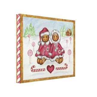 ジンジャーブレッドの男の子および女の子のキャンバスの芸術 キャンバスプリント