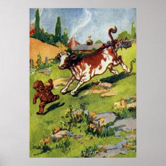 ジンジャーブレッドの男の子及び牛 ポスター
