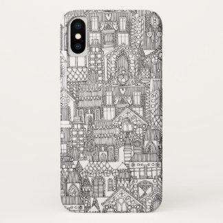 ジンジャーブレッドの町の白黒 iPhone X ケース