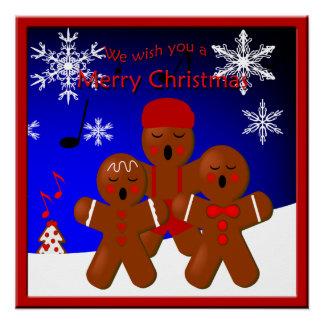 ジンジャーブレッドの聖歌隊のメリークリスマスポスター ポスター