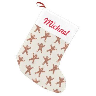 ジンジャーブレッドマンが付いているパターン スモールクリスマスストッキング