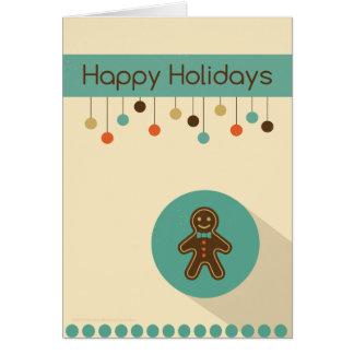 ジンジャーブレッドマンが付いているレトロのクリスマスカード カード