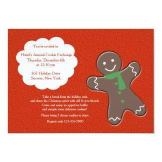ジンジャーブレッドマンのクッキー交換招待状 カード