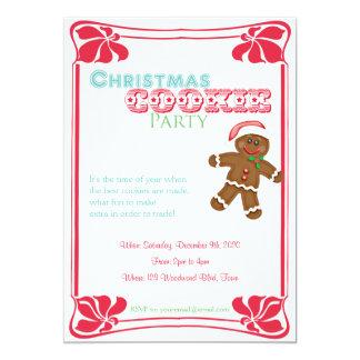 ジンジャーブレッドマンのクリスマスのクッキーのパーティの招待状 カード