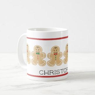 ジンジャーブレッドマンのクリスマスの名前のマグ コーヒーマグカップ