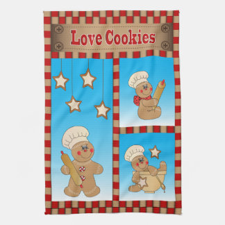 ジンジャーブレッドマンのパン屋愛クッキー キッチンタオル