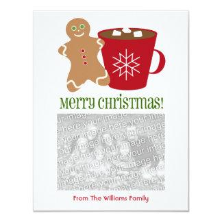 ジンジャーブレッドマン及びココアのクリスマスの写真 カード