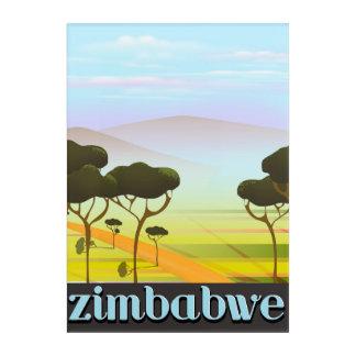 ジンバブエの景色旅行ポスター アクリルウォールアート