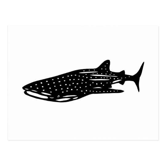ジンベイザメ whale shark, rhincodon typus 切り絵 ポストカード