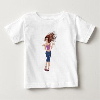 ジーンズの不足分2の女の子 ベビーTシャツ