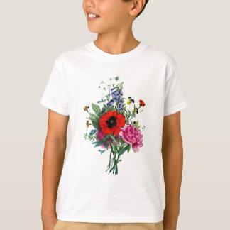 ジーンルイPrevostのケシおよびシャクヤクの花束 Tシャツ