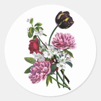 ジーンルイPrevostのシャクヤクおよびチューリップの花束 ラウンドシール