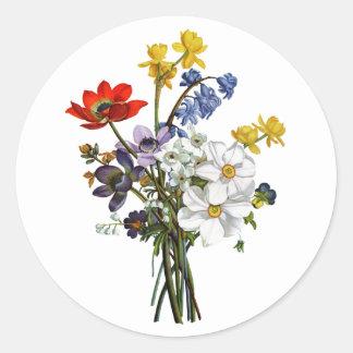 ジーンルイPrevostのスイセンおよびキンボウゲの花束 ラウンドシール