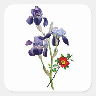 ジーンルイPrevostの紫色のアイリス花束 スクエアシール