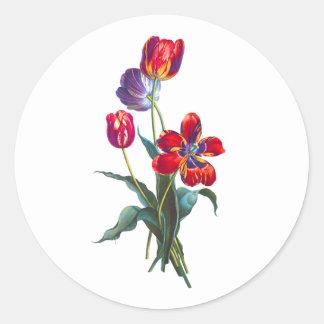 ジーンルイPrevost赤く及び青チューリップの花束 ラウンドシール