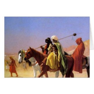 ジーンレオンGerome著砂漠を交差させているアラビア人 カード