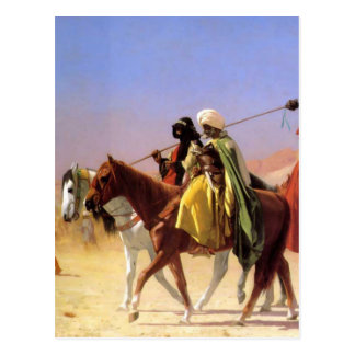 ジーンレオンGerome著砂漠を交差させているアラビア人 ポストカード